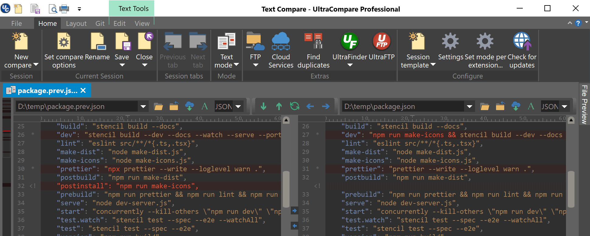 screenshot of compare feature in UltraEdit