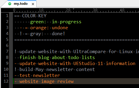 Screenshot of to-do list in UltraEdit
