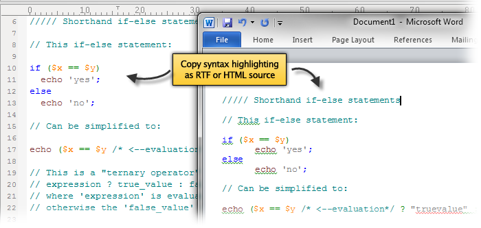 Screenshot of copy syntax highlighting feature in UltraEdit v19.00