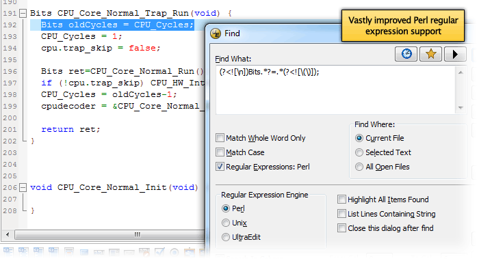 Screenshot of Perl regex in UltraEdit v19.00