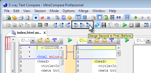 UltraCompare Block and Line Mode Merge