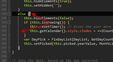 Screenshot of code folding lines