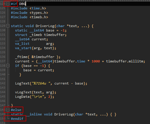 Screenshot of code in UltraEdit