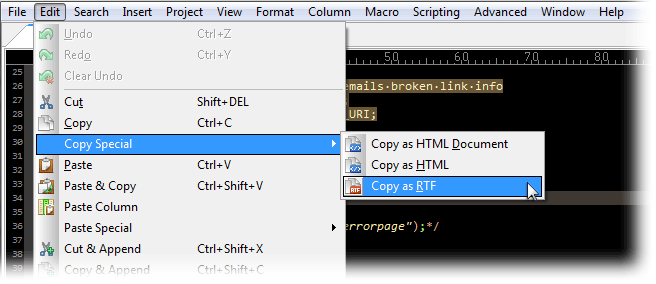 Screenshot of copy and paste syntax highlighting in RTF/HTML