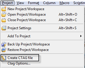 Create CTAG File in the Project Menu