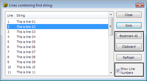 list lines containing string