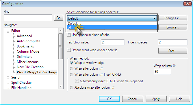How to Configure Word Wrap and Tab Settings For Different File Types