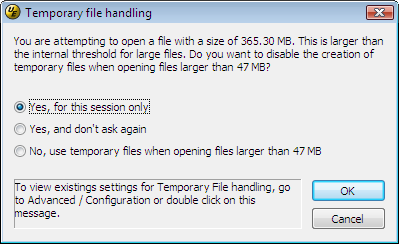 Temp files prompt