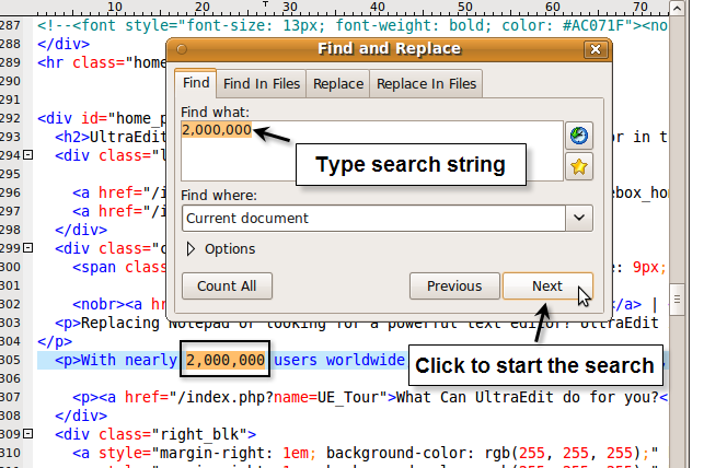 Using Find, Replace, Find In Files, and Replace in Files