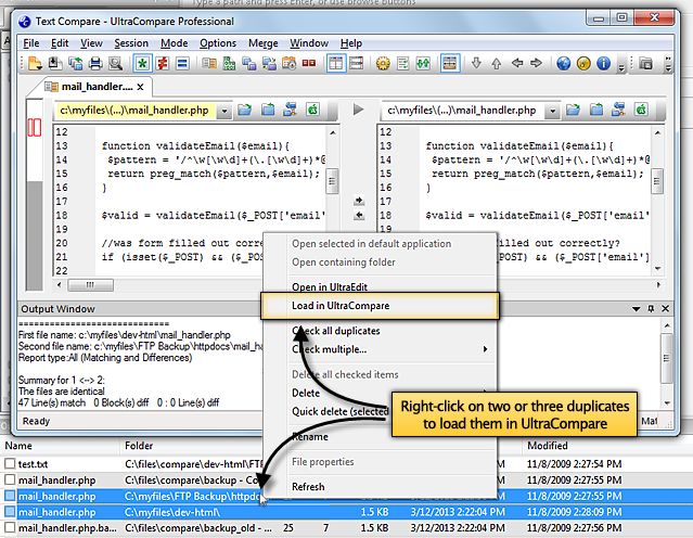 Screenshot of comparing duplicates in UltraCompare