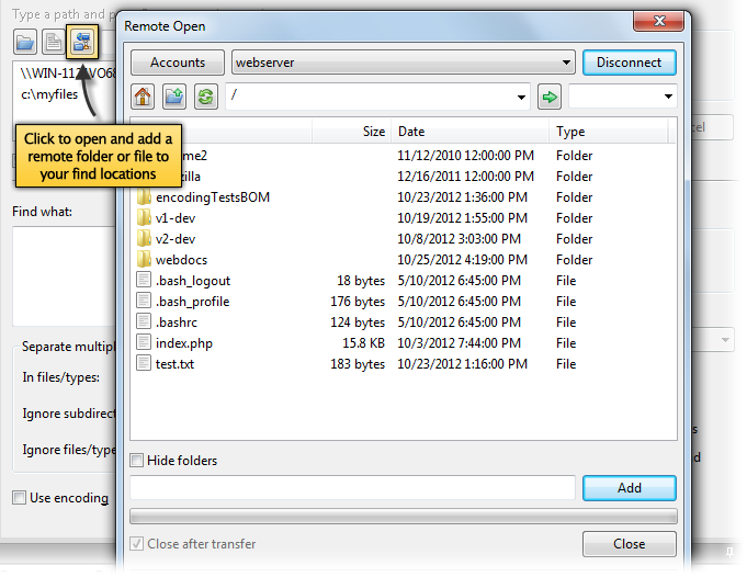 Search and find text or filenames in FTP with UltraFinder