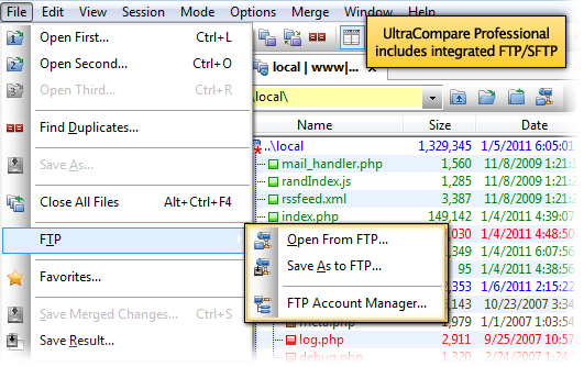 UltraCompare supports FTP/SFTP compare operations