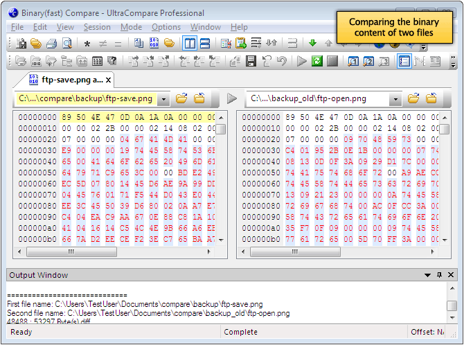 Diff compare binary files