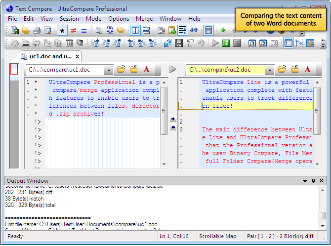 screenshot of a Word document compare in UltraCompare