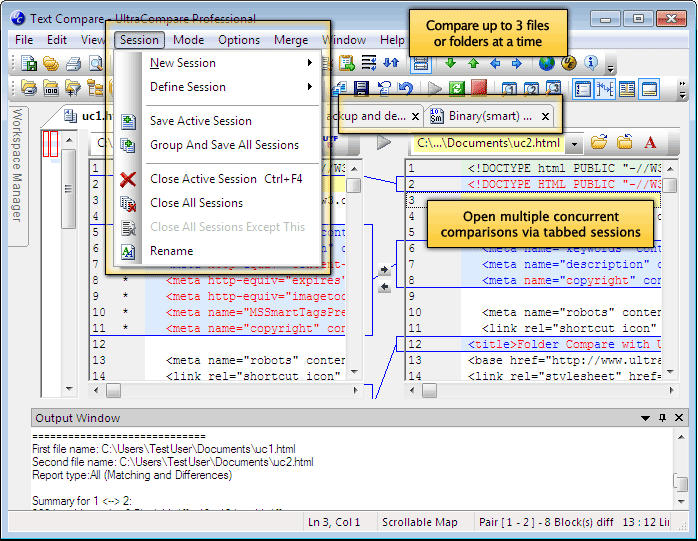 Screenshot of UltraCompare file/folder compare and merge program