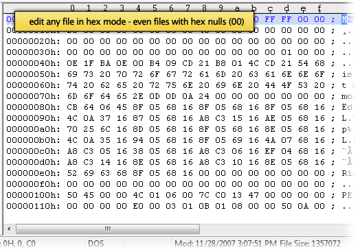 Edit binary or hex data using UltraEdit's hex editor