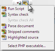 PHP toolbar button options