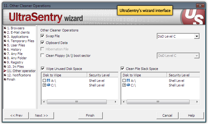 UltraSentry secure delete wizard interface