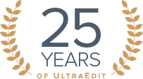 UltraEdit text editor 25 years anniversary seal